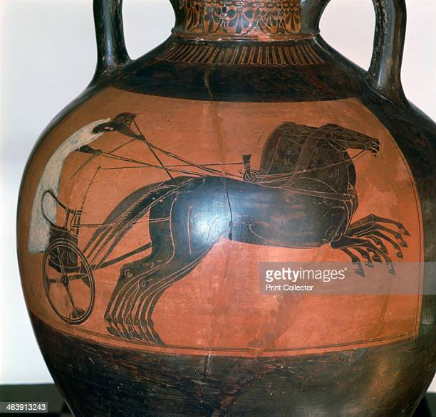 Greek vase depicting a chariot c5th6th century BC Found in the collection of the Musee Municipal Antoine Vivenel Compiegne France