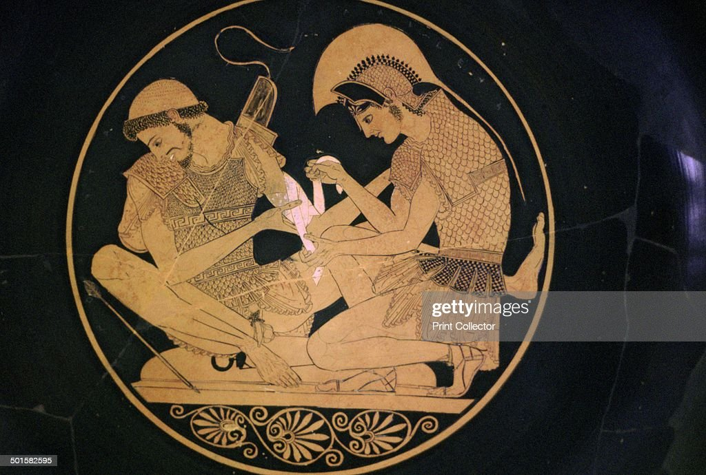 Greek Vase Painting Of Achilles And Patroclus Artist Sosias