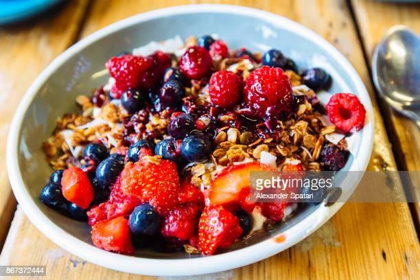 Greek yoghurt with fresh strawberry, blueberry, raspberry and granola