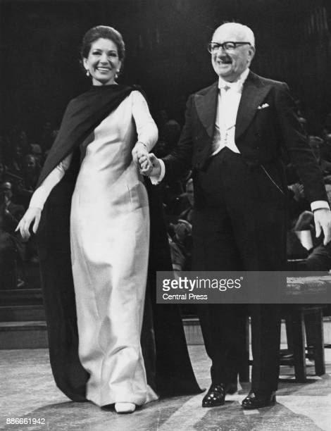 GreekAmerican soprano Maria Callas and her pianist Ivor Newton receive the audience's applause after a recital at the Royal Festival Hall in London...