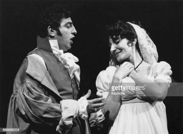 GreekAmerican soprano Maria Callas and Italian lyric tenor Renato Cioni during rehearsals for the Puccini opera 'Tosca' at Covent Garden in London...