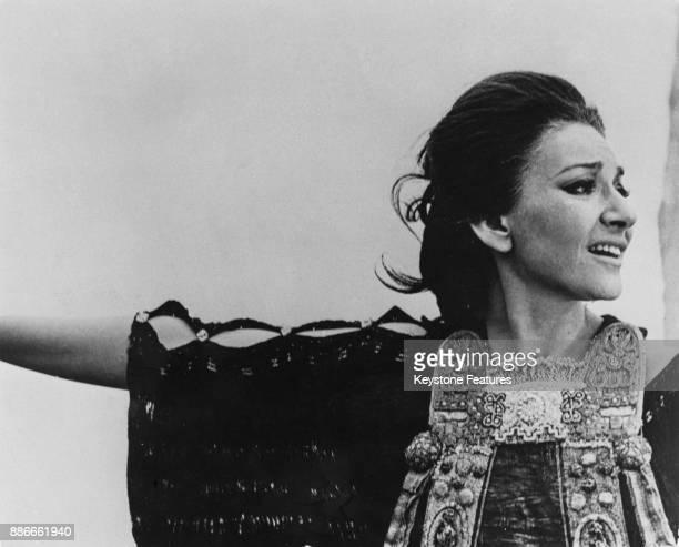 Greek-American soprano Maria Callas filming Pier Paolo Pasolini's 'Medea' in Rome, Italy, 1969.
