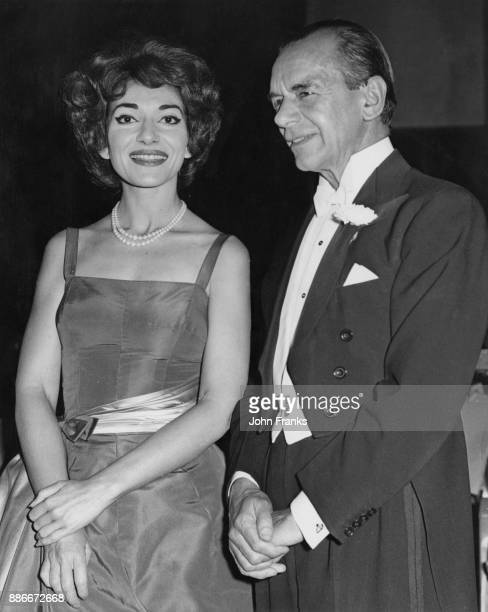 GreekAmerican soprano Maria Callas with British conductor Sir Malcolm Sargent after making a recording at the Hackney Empire in London for the...