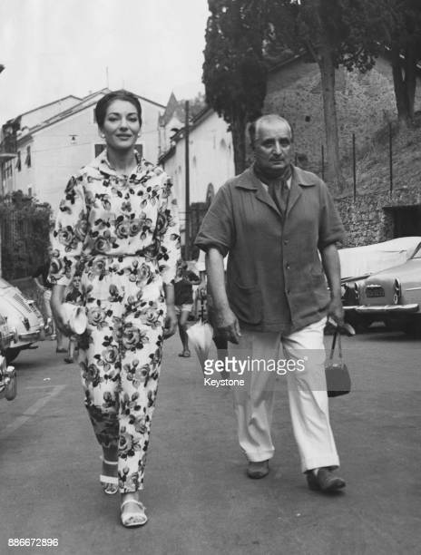 Greek-American soprano Maria Callas with her husband Giovanni Battista Meneghini in Portofino, Italy, during a cruise party with Sir Winston...