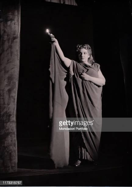Greek-born American soprano Maria Callas playing Norma at La Scala in the homonymous opera by Vincenzo Bellini. Milan, Italy. 1952