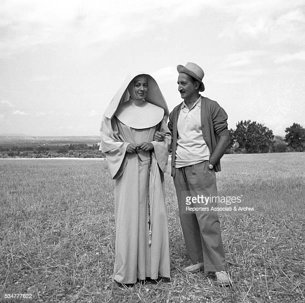 Greekborn Italian actress Yvonne Sanson as Sister Addolorata having a break on the set of the film Nobody's Children 1951