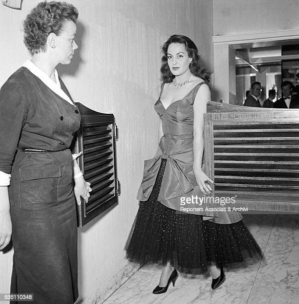Greekborn Italian actress Yvonne Sanson attending a cocktail party held by Titanus at the restaurant Palazzi Rome 10th June 1955