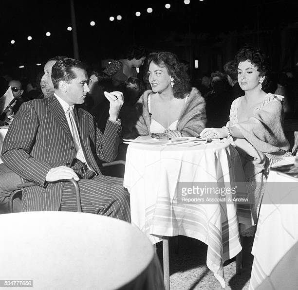 Greekborn Italian actress Yvonne Sanson attending the awarding ceremony in her honour with Italian actress Gina Lollobrigida and her husband Milko...