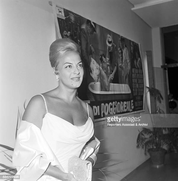 Greekborn Italian actress Yvonne Sanson attending the presentation of the film The King of Poggioreale Chianciano Terme 1961