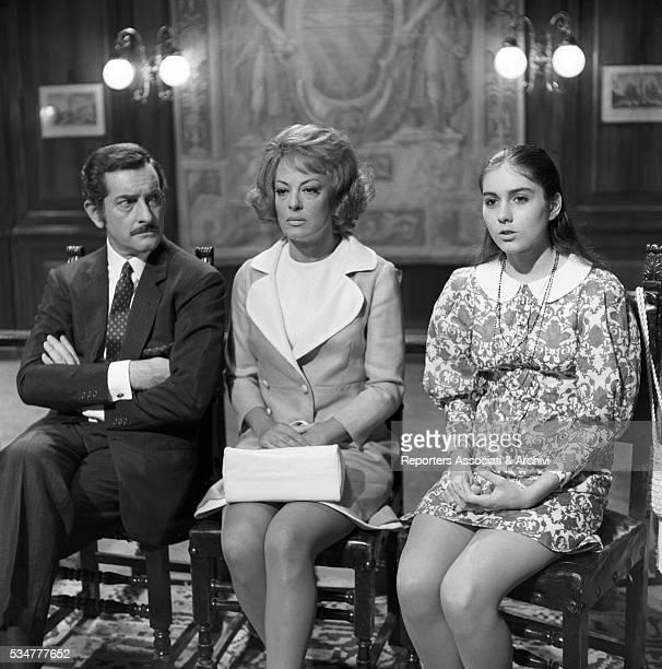 Greekborn Italian actress Yvonne Sanson Italian actor Riccardo Garrone and Americanborn Italian singer Romina Power in the film Pensando a te 1969