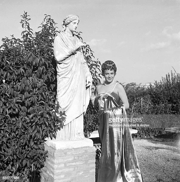 Greekborn Italian actress Yvonne Sanson playing Statilia Messalina on the set of the film Nerone e Messalina 1953