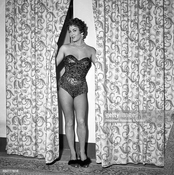 Greekborn Italian actress Yvonne Sanson posing in a sexy attitude in her dressing room during a break on the set of the film Nobody's Children 1951