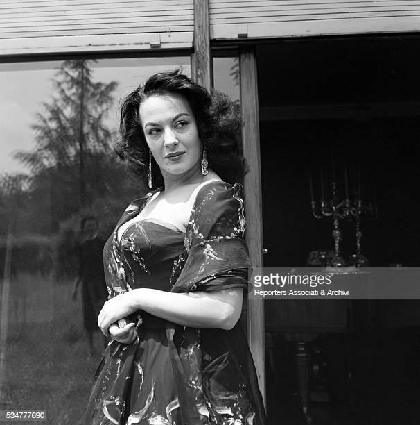 Greekborn Italian actress Yvonne Sanson posing in her villa on the Appian Way in Rome Rome 1955