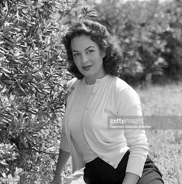 Greekborn Italian actress Yvonne Sanson posing in the garden of her villa on the Appian Way in Rome Rome 1955