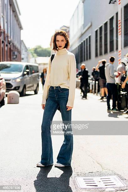 Greek/Dutch model Ros Georgiou exits the Emporio Armani show during the Milan Fashion Week Spring/Summer 16 on September 25 2015 in Milan Italy Ros...