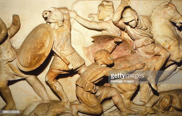Greeks fight Persians the Alexander Sarcophagus Sidon 4th century BC The Alexander Sarcophagus is a late 4th century BC Hellenistic stone sarcophagus...