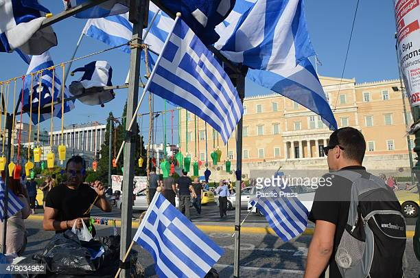Greeks hold demonstration at Syntagma square with them banners and placards Greeks demonstrate in Syntagma square in support to a 'NO' vote in the...