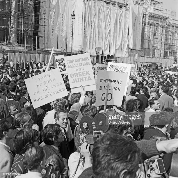 Greeks protesting for Free Greece from Military Junta at Trafalgar Square London 1968.