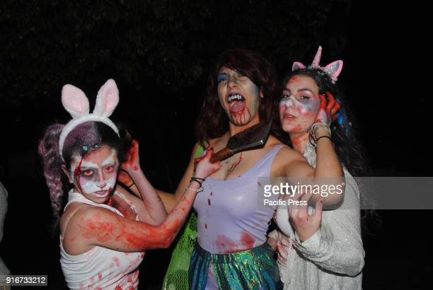 SYNTAGMA ATHENS ATTIKI GREECE Greeks take part in the 2018 Zombie Walk an international event that people dress up in zombie costumes