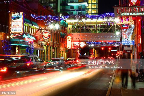 greektown lights - detroit michigan stock-fotos und bilder