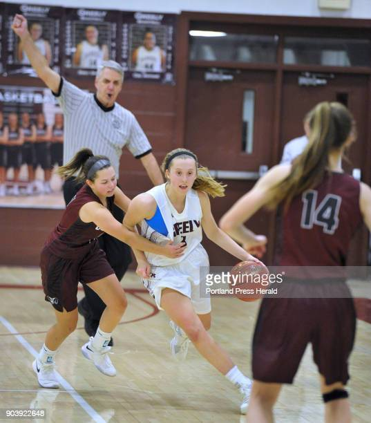 Greely vs Gorham girls basketball game at Greely High School Referee Paul Burnell makes the foul call on Gorham's Brittany Desjardin as she tries to...