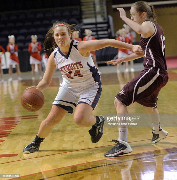 Greely vs GrayNew Gloucester girls class B semifinal basketball gameGNG's Maria Valente starts a drive around Greely's Haley Felkel