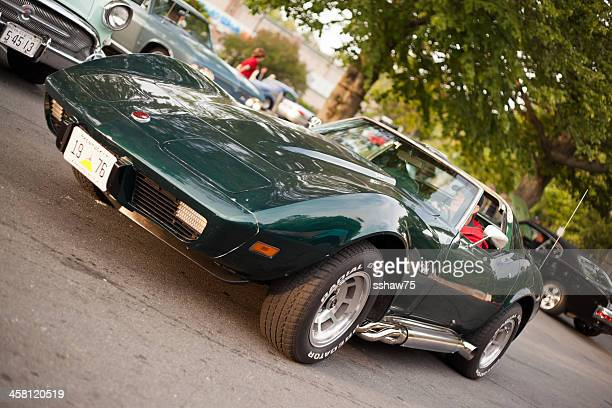 green 1976 corvette stingray - chevrolet corvette stock pictures, royalty-free photos & images