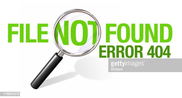 Green 404 error message with magnifying glass