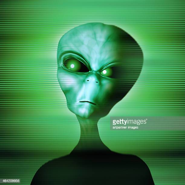 Green alien looking angry or dangerous