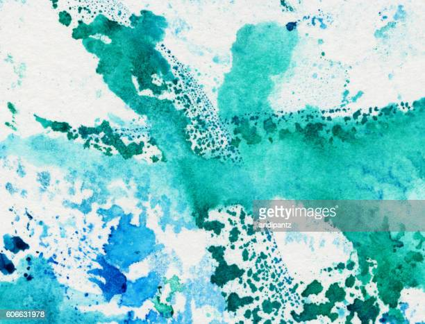 Green and blue hand painted background with brush strokes