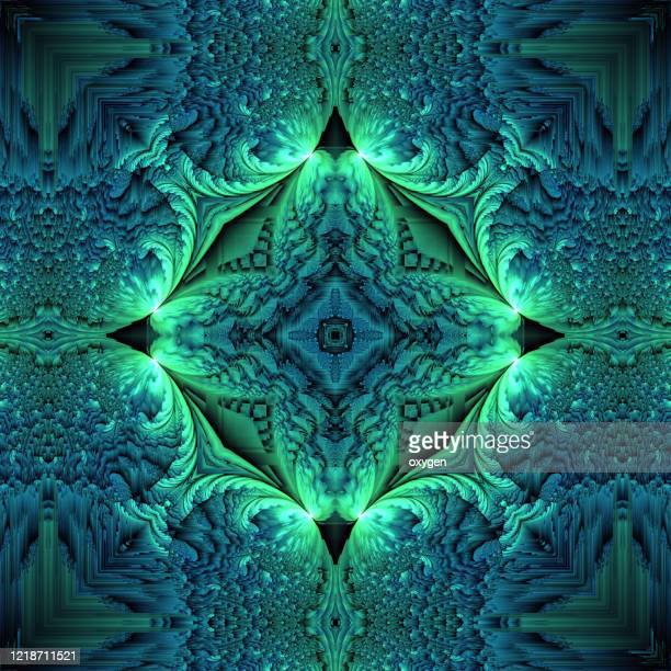 green and blue stars kaleidoscope mosaic seamless pattern background - emerald green stock pictures, royalty-free photos & images