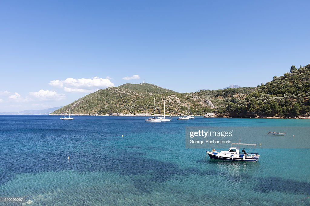 Green and blue waters on the island of Samos : Stock Photo