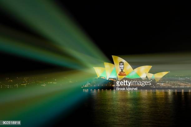 Green and Gold Ashes Celebrations are projected on the Sydney Opera House on January 8 2018 in Sydney Australia Australia today beat England in the...
