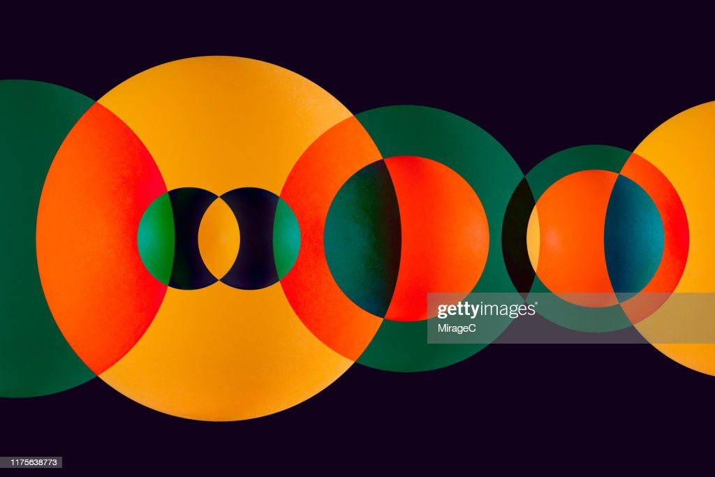 Green and Orange Circle Overlapping : Stock Photo