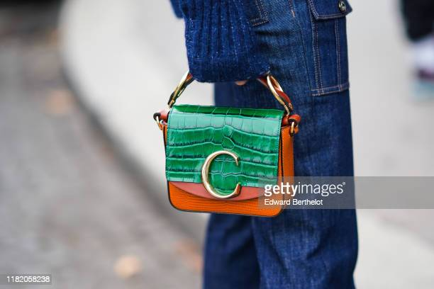 Green and orange snake pattern bag from Chloe is seen, outside Chloe, during Paris Fashion Week - Womenswear Spring Summer 2020, on September 26,...