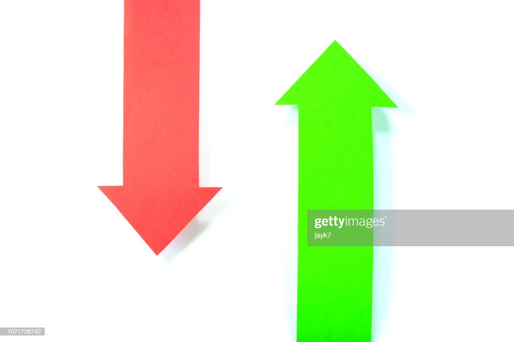 Green and Red Arrow Signs : Stock Photo