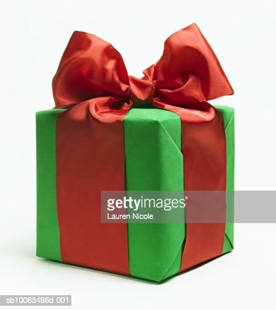 Christmas gift wrapped with bow closeup stock photo getty images keywords blue christmas christmas present negle Images
