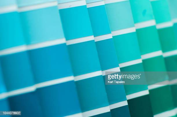 green and torquoise color pallette - artist's palette stock photos and pictures