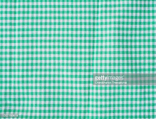 green and white colours of gingham cotton texture on the background - ギンガムチェック ストックフォトと画像