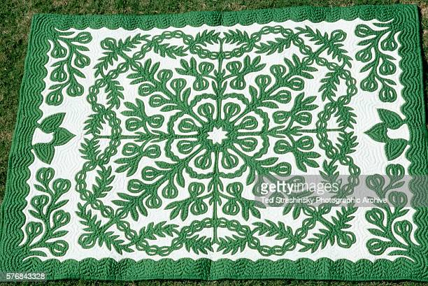 Green and White Hawaiian Quilt