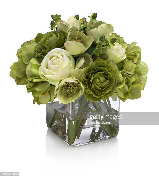 Green and white roses with hydrangea bouquet on white background