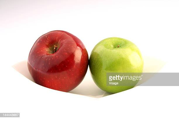 Green apple and a red apple