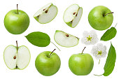 Green Apple for design package. Set of whole Apple, half and slice with leaf and flowers isolated on white background