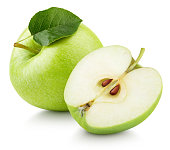 Green apple fruit with half and green leaf isolated on white