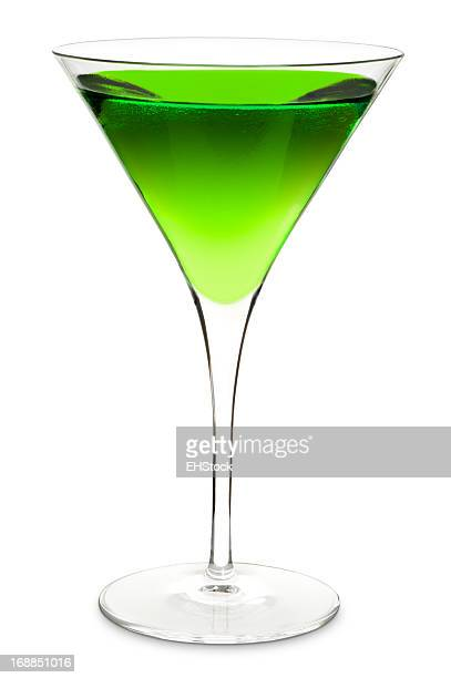 Green Apple Martini Cocktail Isolated on White Background