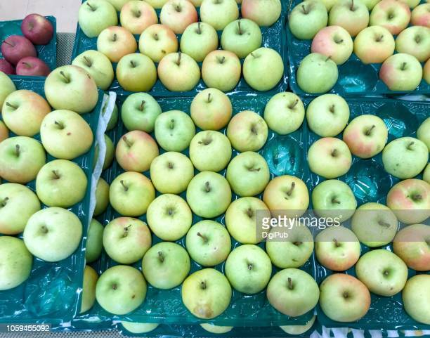 green apple 'toki' produced in aomori prefecture - aomori prefecture stock pictures, royalty-free photos & images