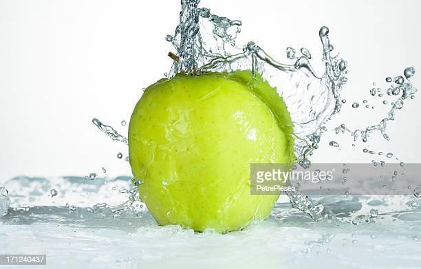 Green Apple. Water Splash.