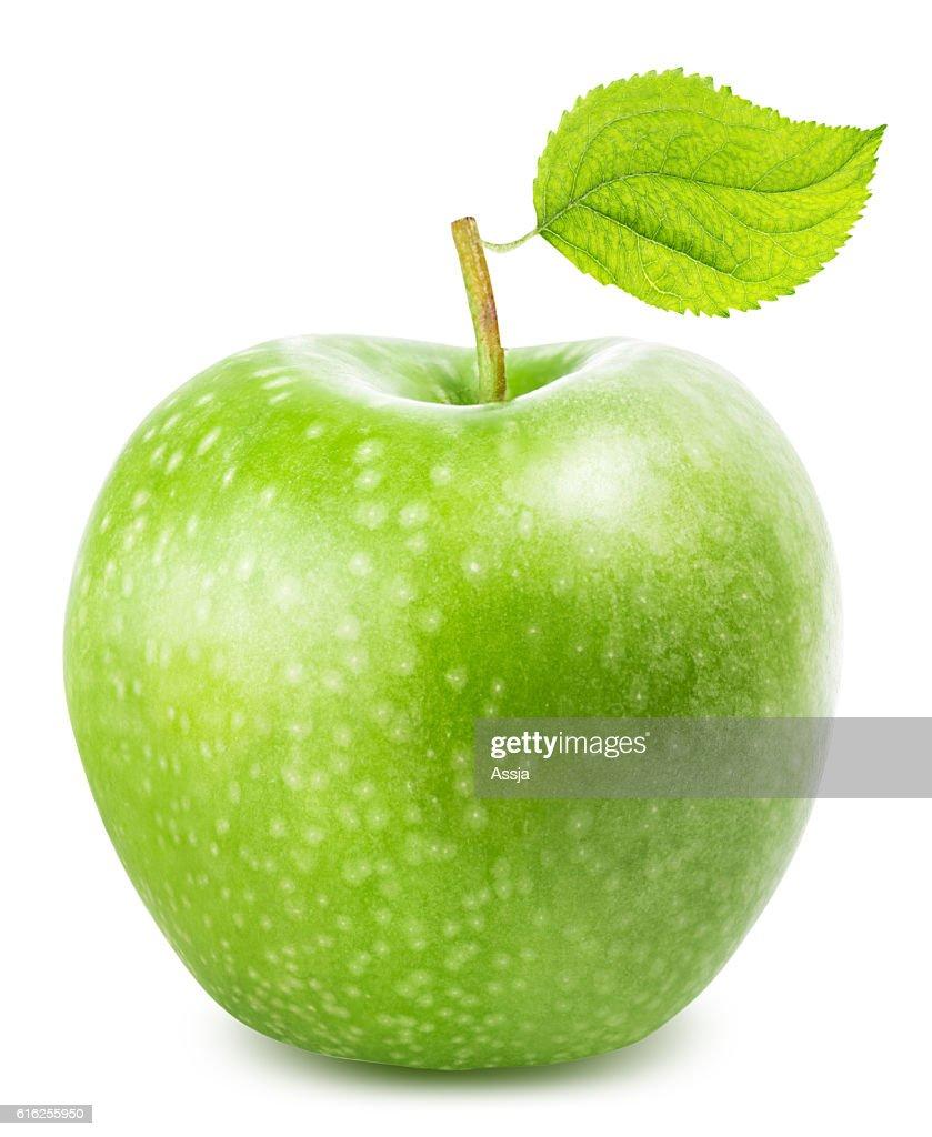 Maçã verde com folha isolado num fundo branco : Foto de stock