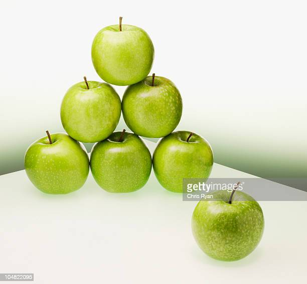 Green apples forming pyramid