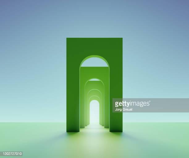 green arches - 人工建造物 ストックフォトと画像
